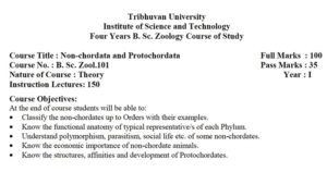 T.U. B.Sc. 1st Year Zoology (Non-Chordata and Protochordata) Syllabus