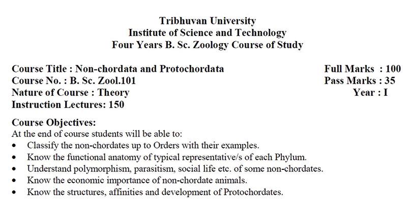 T.U. B.Sc. 1st Year Zoology (Non-Chordata and Protochordata) Syllabus