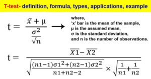 T-test- definition, formula, types, applications, example
